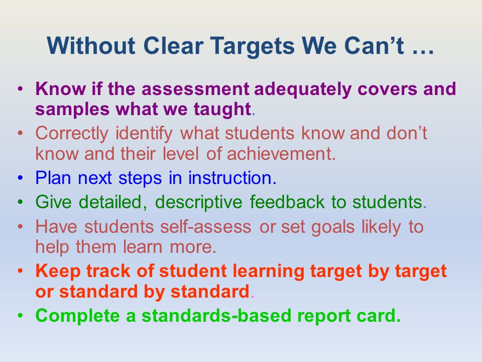 Without Clear Targets We Can't … Know if the assessment adequately covers and samples what we taught.
