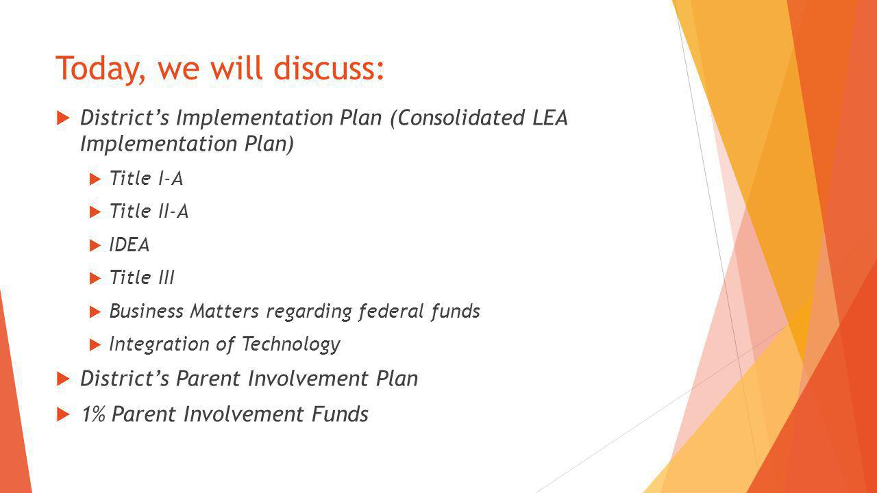 Today, we will discuss:  District's Implementation Plan (Consolidated LEA Implementation Plan)  Title I-A  Title II-A  IDEA  Title III  Business
