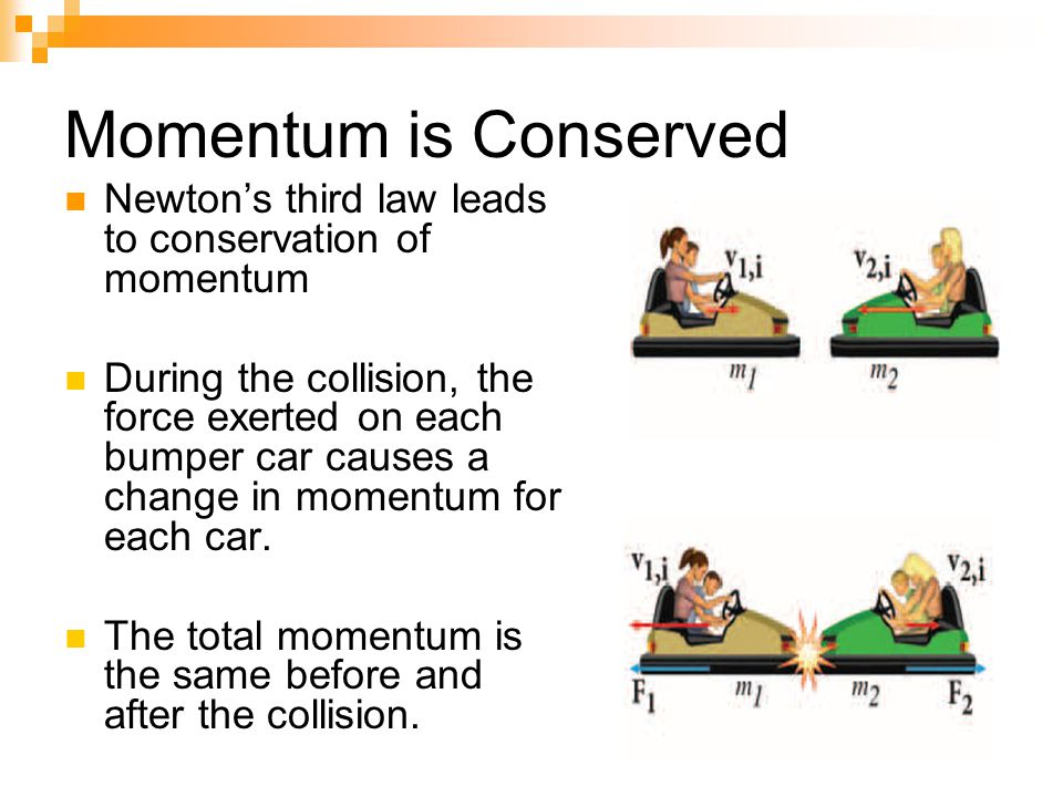 Momentum is Conserved Newton's third law leads to conservation of momentum During the collision, the force exerted on each bumper car causes a change in momentum for each car.