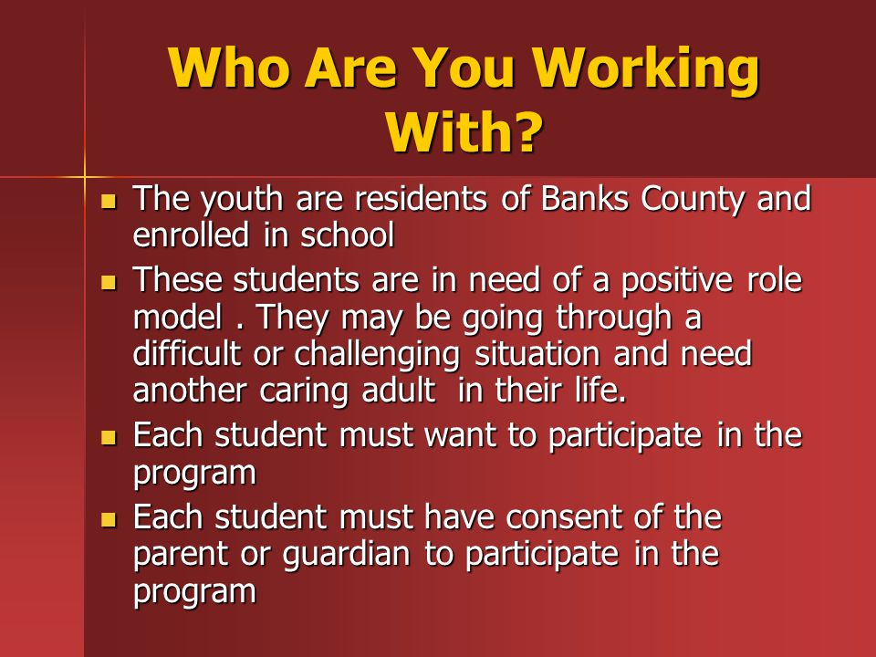 Who Are You Working With.