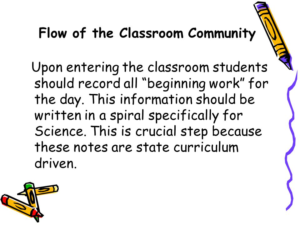 Flow of the Classroom Community Upon entering the classroom students should record all beginning work for the day.