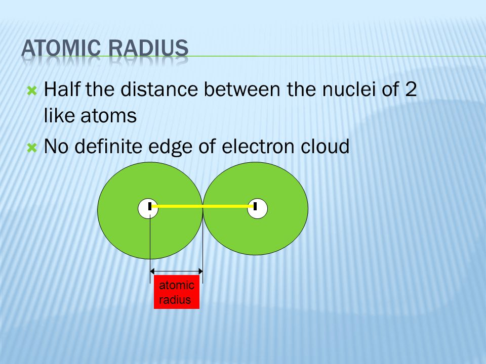  Half the distance between the nuclei of 2 like atoms  No definite edge of electron cloud atomic radius