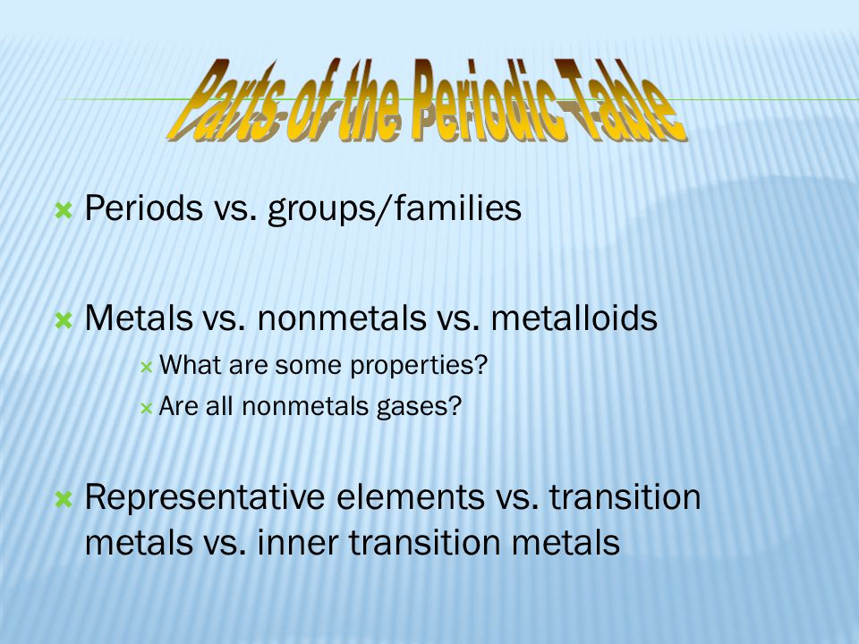  Periods vs. groups/families  Metals vs. nonmetals vs. metalloids  What are some properties?  Are all nonmetals gases?  Representative elements v