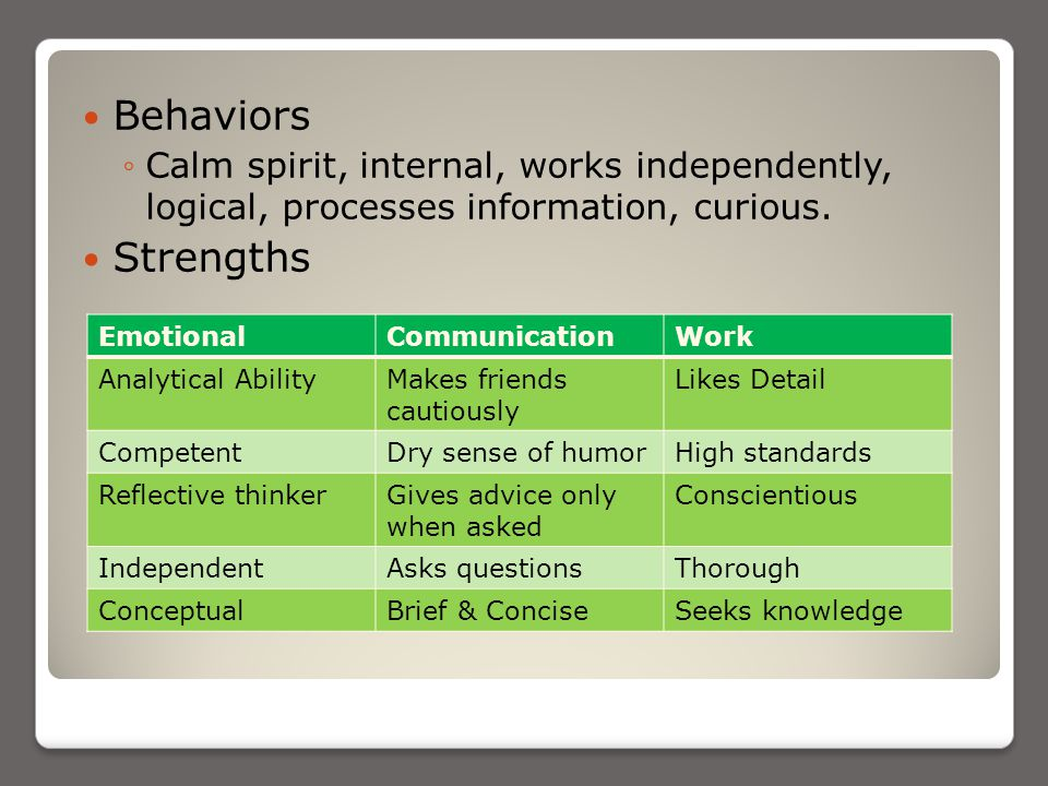 Behaviors ◦Calm spirit, internal, works independently, logical, processes information, curious.