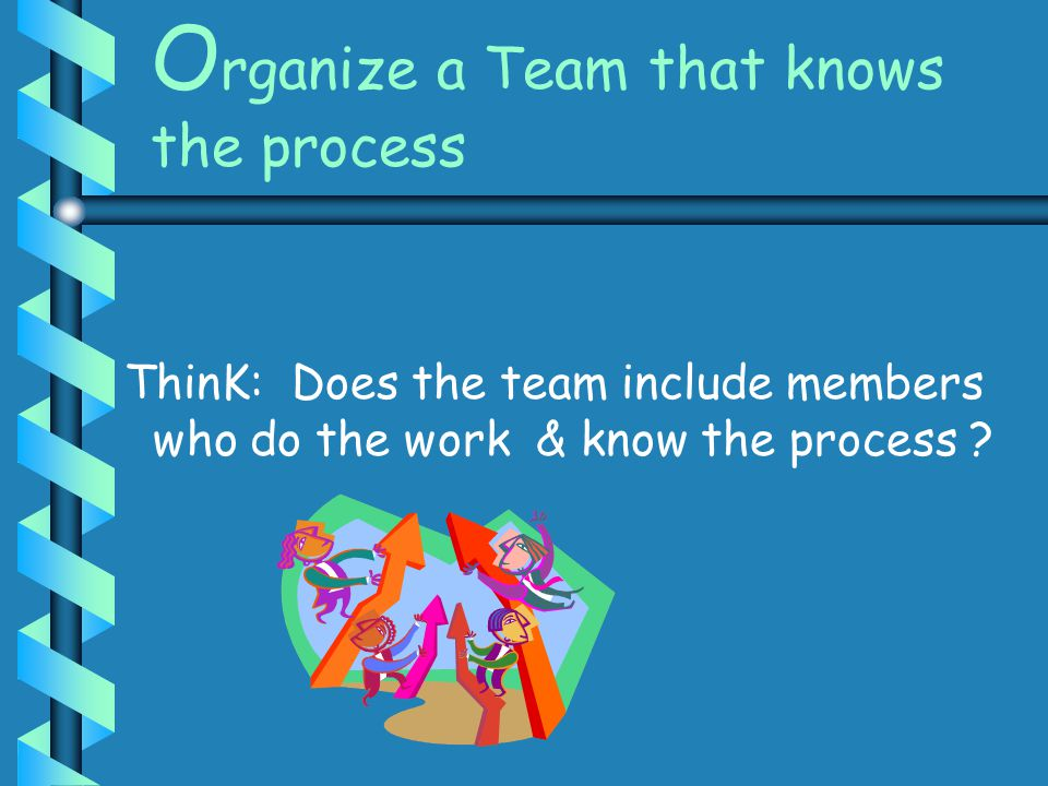 O rganize a Team that knows the process ThinK: Does the team include members who do the work & know the process ?