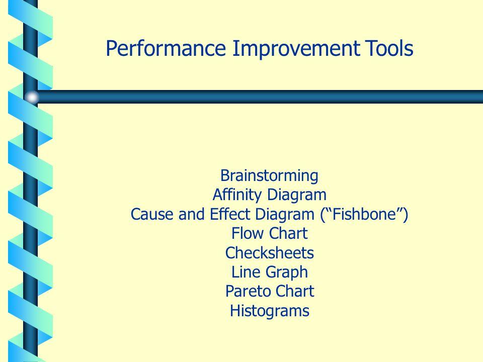 "Brainstorming Affinity Diagram Cause and Effect Diagram (""Fishbone"") Flow Chart Checksheets Line Graph Pareto Chart Histograms Performance Improvement"