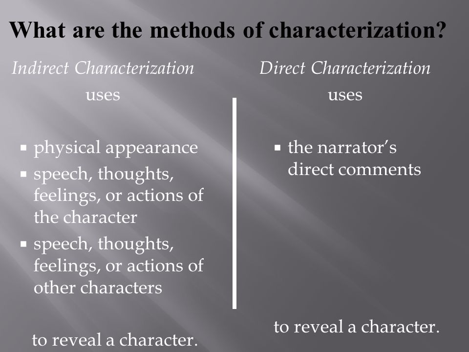 Indirect Characterization uses  physical appearance  speech, thoughts, feelings, or actions of the character  speech, thoughts, feelings, or action