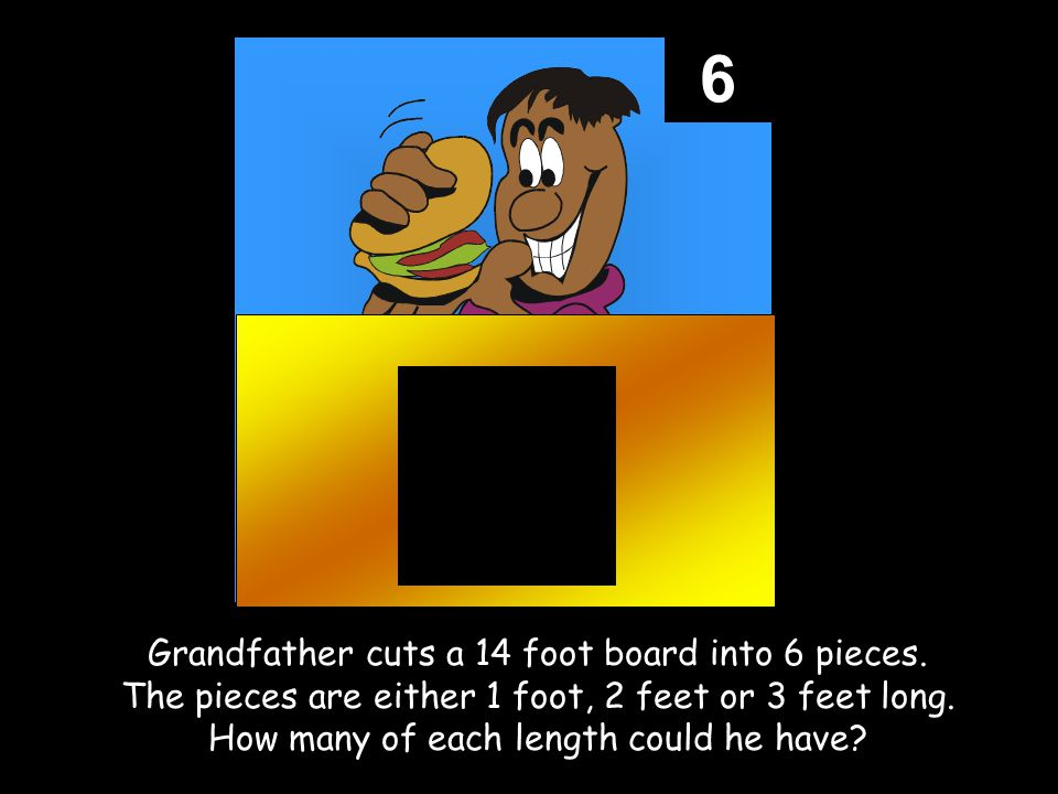 6 Grandfather cuts a 14 foot board into 6 pieces.