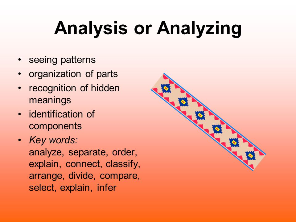 Analysis or Analyzing seeing patterns organization of parts recognition of hidden meanings identification of components Key words: analyze, separate,