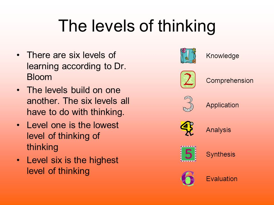 The levels of thinking There are six levels of learning according to Dr. Bloom The levels build on one another. The six levels all have to do with thi