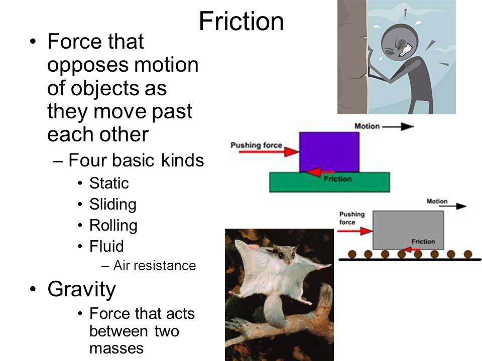Friction Force that opposes motion of objects as they move past each other –Four basic kinds Static Sliding Rolling Fluid –Air resistance Gravity Forc