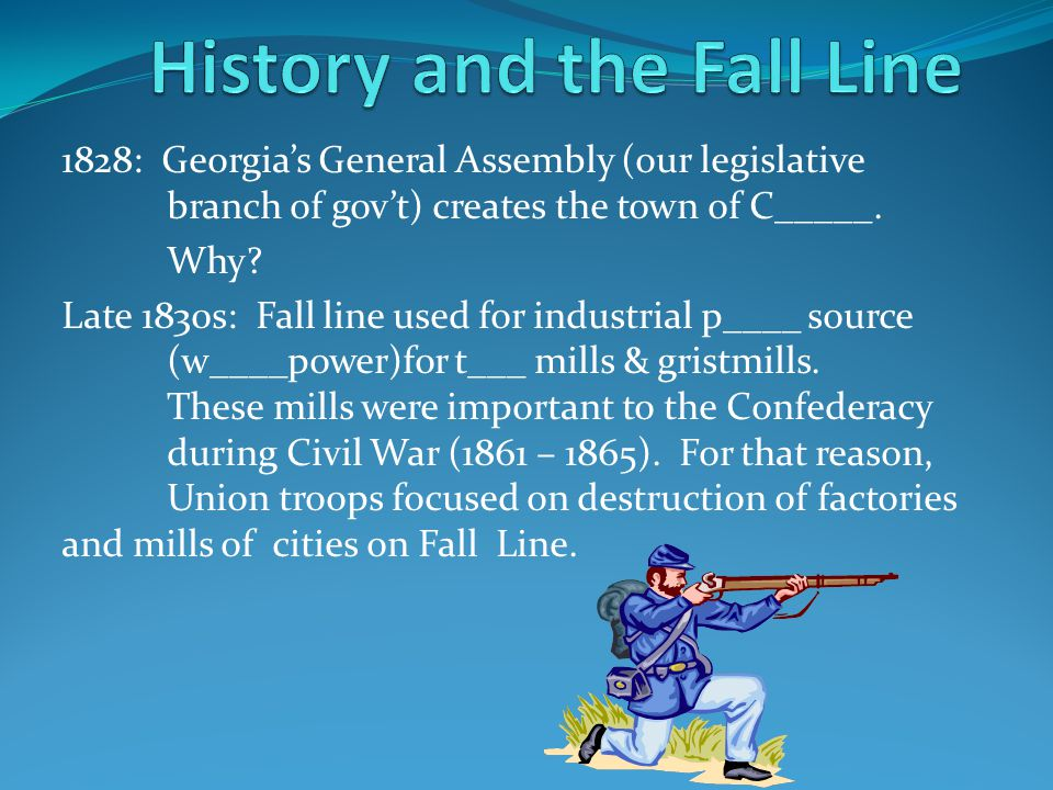1828: Georgia's General Assembly (our legislative branch of gov't) creates the town of Columbus. Why? Late 1830s: Fall line used for industrial power