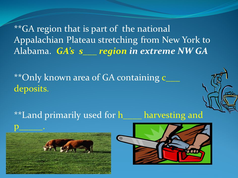 **GA region that is part of the national Appalachian Plateau stretching from New York to Alabama. GA's smallest region in extreme NW GA **Only known a