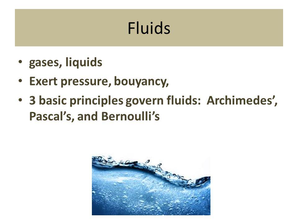 Fluids gases, liquids Exert pressure, bouyancy, 3 basic principles govern fluids: Archimedes', Pascal's, and Bernoulli's