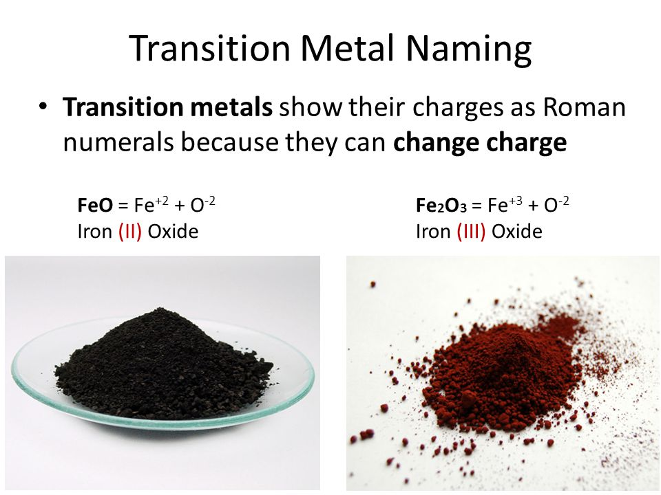 Transition Metal Naming Transition metals show their charges as Roman numerals because they can change charge FeO = Fe +2 + O -2 Iron (II) Oxide Fe 2