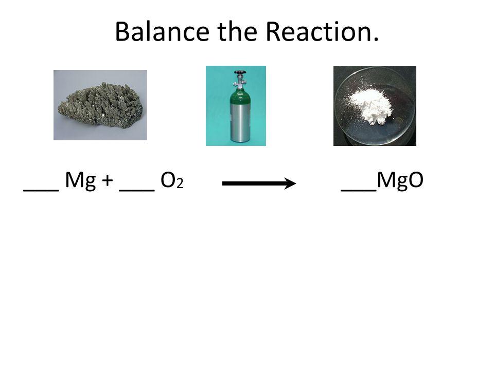 Balance the Reaction. ___ Mg + ___ O 2 ___MgO