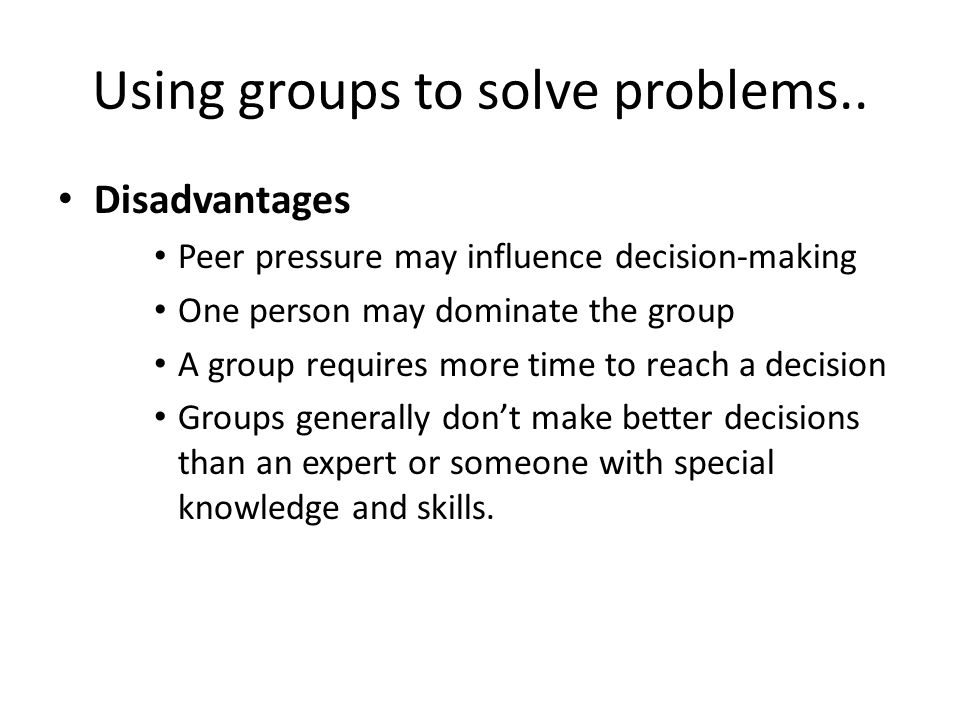Using groups to solve problems..