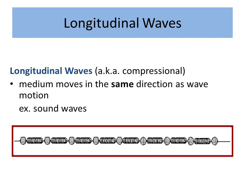 Longitudinal Waves Longitudinal Waves (a.k.a. compressional) medium moves in the same direction as wave motion ex. sound waves