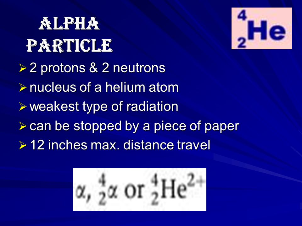 ALPHA PARTICLE  2 protons & 2 neutrons  nucleus of a helium atom  weakest type of radiation  can be stopped by a piece of paper  12 inches max.