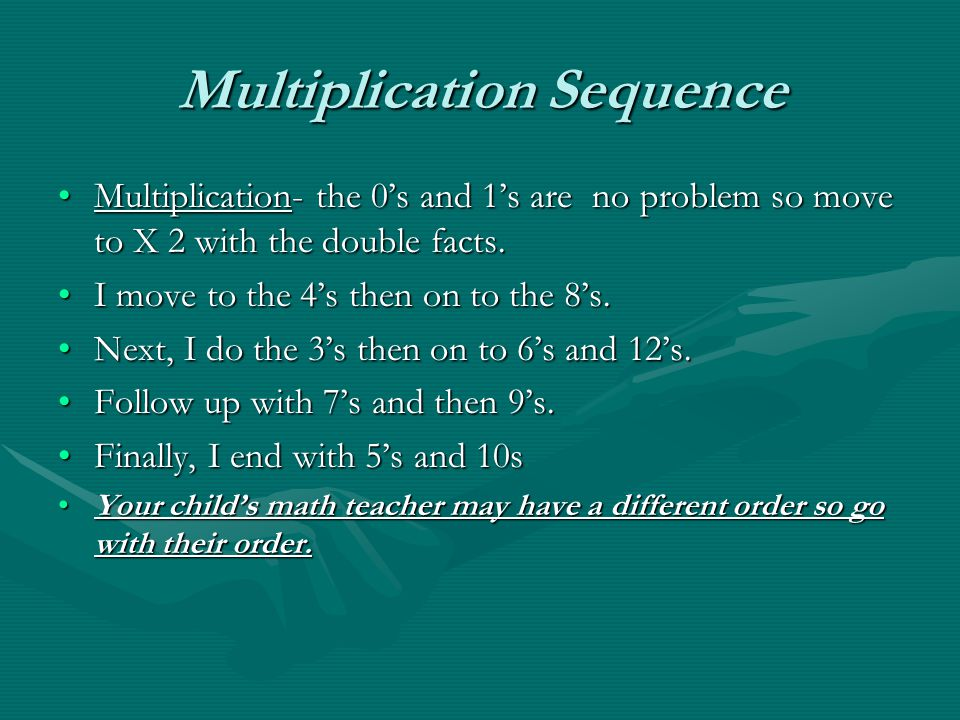 Multiplication Sequence Multiplication- the 0's and 1's are no problem so move to X 2 with the double facts.Multiplication- the 0's and 1's are no problem so move to X 2 with the double facts.