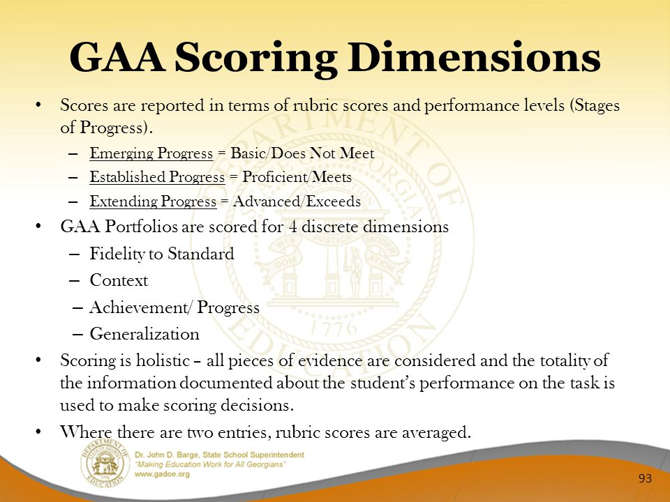 GAA Scoring Dimensions Scores are reported in terms of rubric scores and performance levels (Stages of Progress).