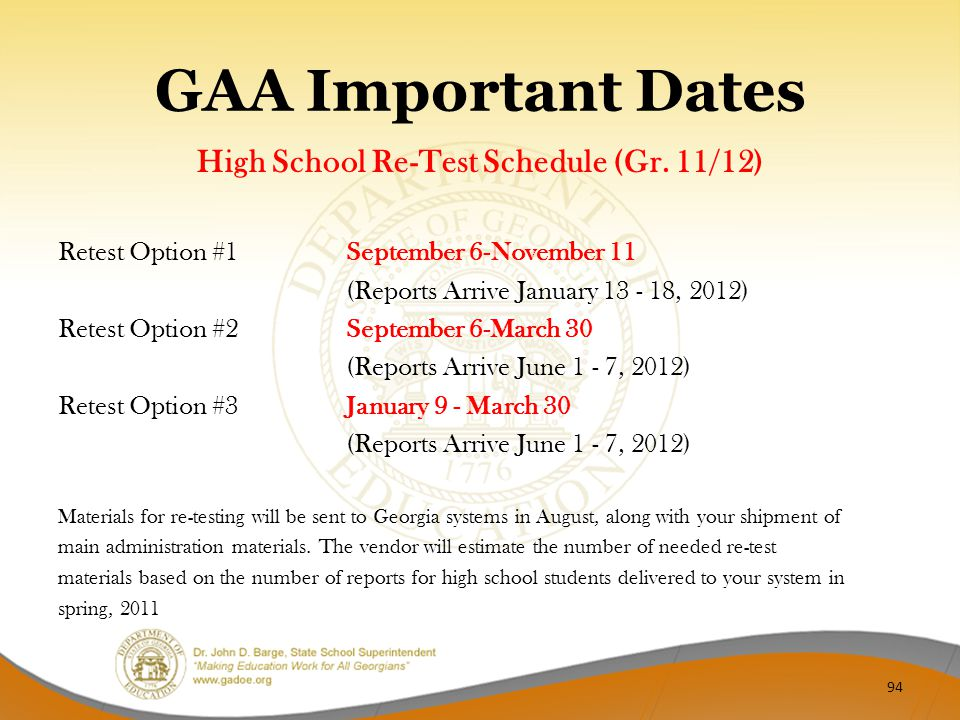 GAA Important Dates High School Re-Test Schedule (Gr. 11/12) Retest Option #1 September 6-November 11 (Reports Arrive January 13 - 18, 2012) Retest Op