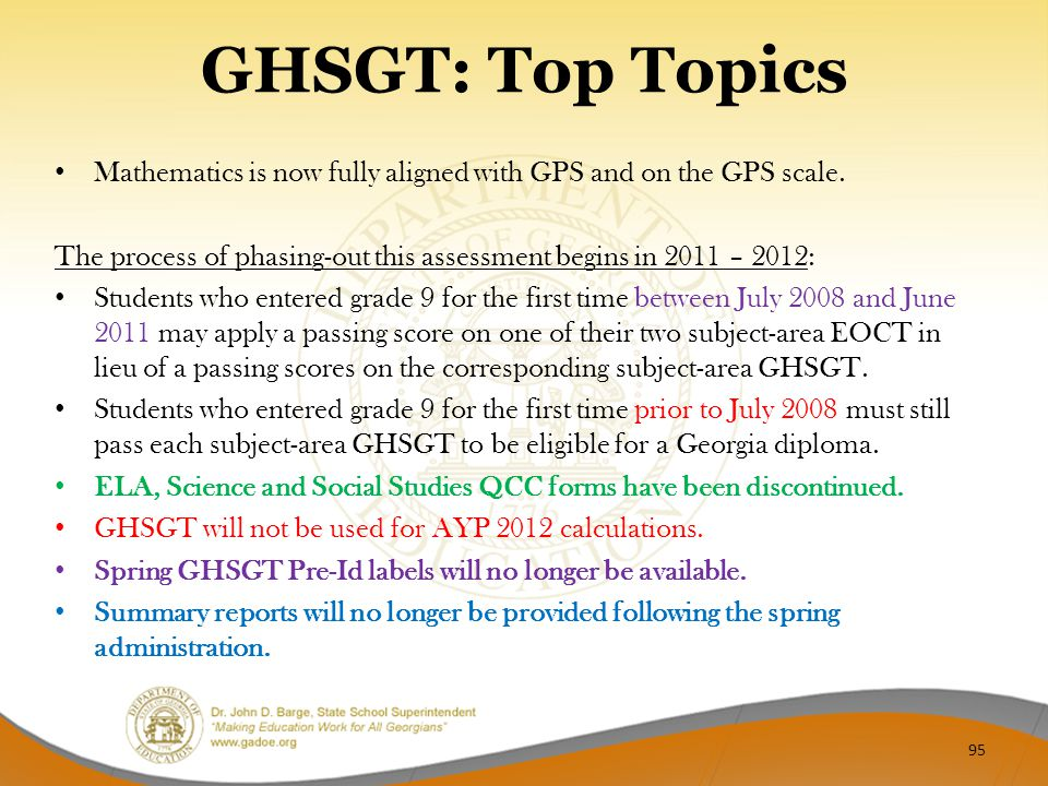 GHSGT: Top Topics Mathematics is now fully aligned with GPS and on the GPS scale.