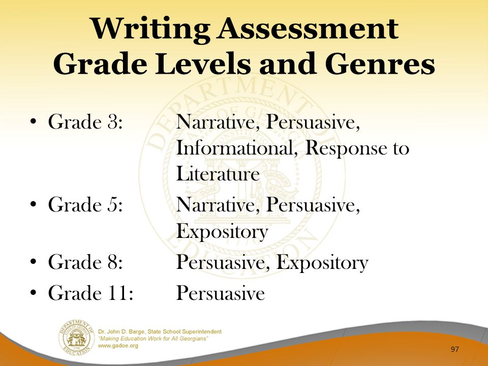 Writing Assessment Grade Levels and Genres Grade 3: Narrative, Persuasive, Informational, Response to Literature Grade 5: Narrative, Persuasive, Expository Grade 8: Persuasive, Expository Grade 11: Persuasive 97