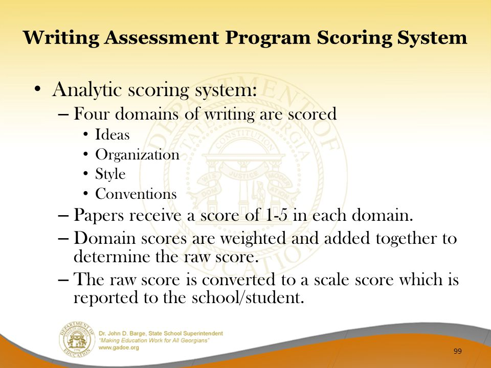 Writing Assessment Program Scoring System Analytic scoring system: – Four domains of writing are scored Ideas Organization Style Conventions – Papers