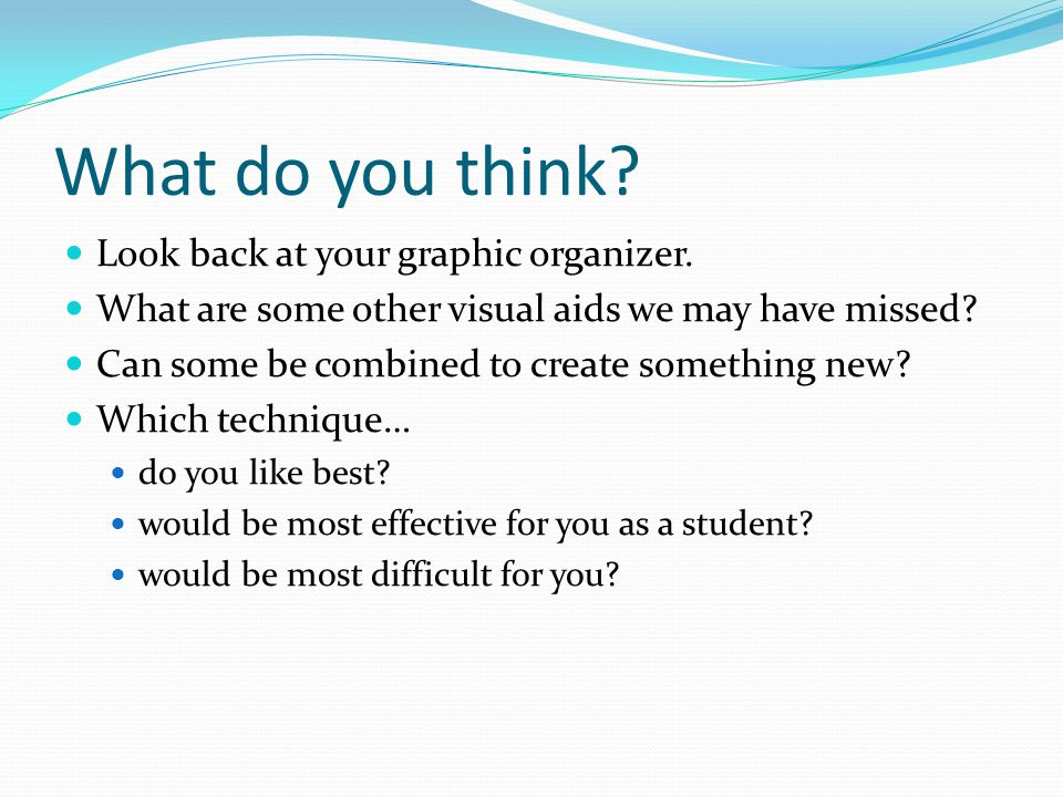 What do you think. Look back at your graphic organizer.