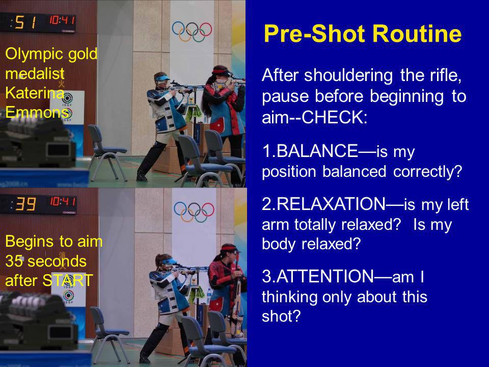 Pre-Shot Routine After shouldering the rifle, pause before beginning to aim--CHECK: 1.BALANCE— is my position balanced correctly.