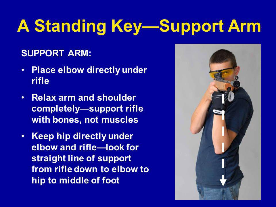 A Standing Key—Support Arm SUPPORT ARM: Place elbow directly under rifle Relax arm and shoulder completely—support rifle with bones, not muscles Keep hip directly under elbow and rifle—look for straight line of support from rifle down to elbow to hip to middle of foot