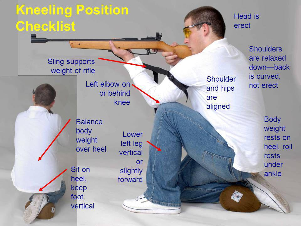 Sit on heel, keep foot vertical Balance body weight over heel Lower left leg vertical or slightly forward Left elbow on or behind knee Sling supports weight of rifle Head is erect Shoulders are relaxed down—back is curved, not erect Body weight rests on heel, roll rests under ankle Kneeling Position Checklist Shoulder and hips are aligned