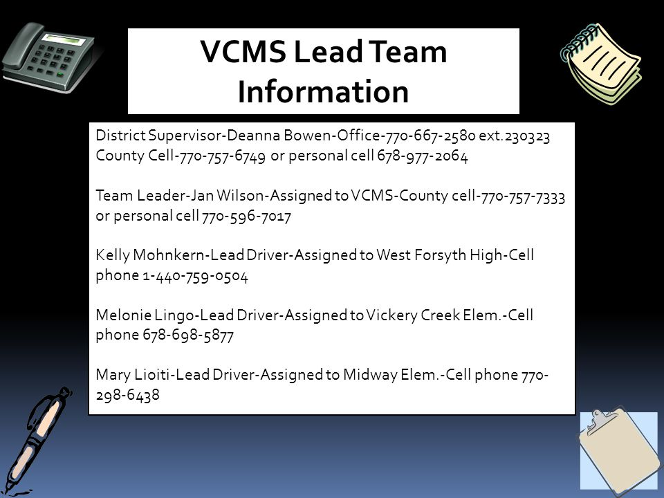 VCMS Lead Team Information District Supervisor-Deanna Bowen-Office-770-667-2580 ext.230323 County Cell-770-757-6749 or personal cell 678-977-2064 Team