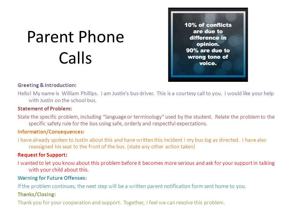 Parent Phone Calls Greeting & Introduction: Hello.