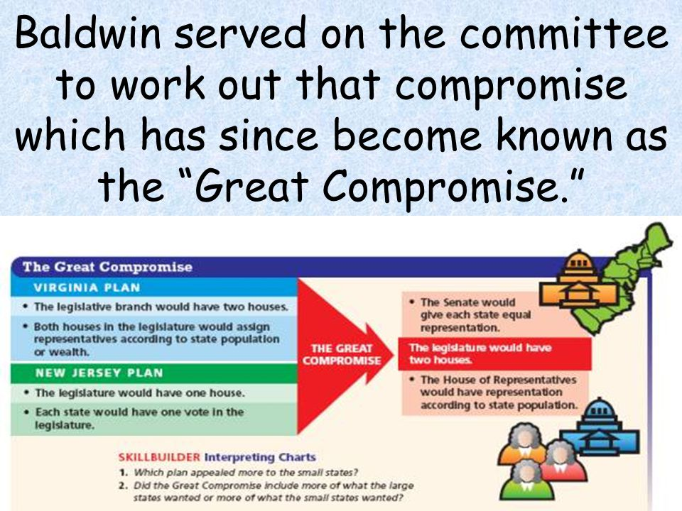 """7 Baldwin served on the committee to work out that compromise which has since become known as the """"Great Compromise."""""""