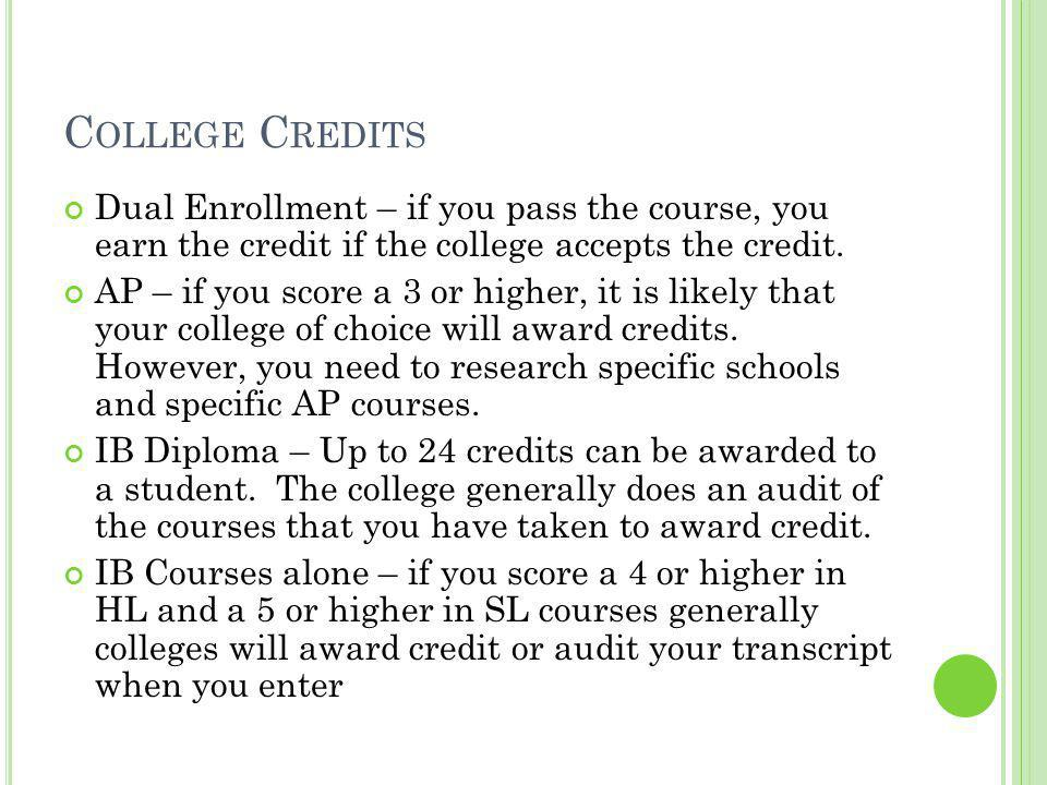 C OLLEGE C REDITS Dual Enrollment – if you pass the course, you earn the credit if the college accepts the credit.