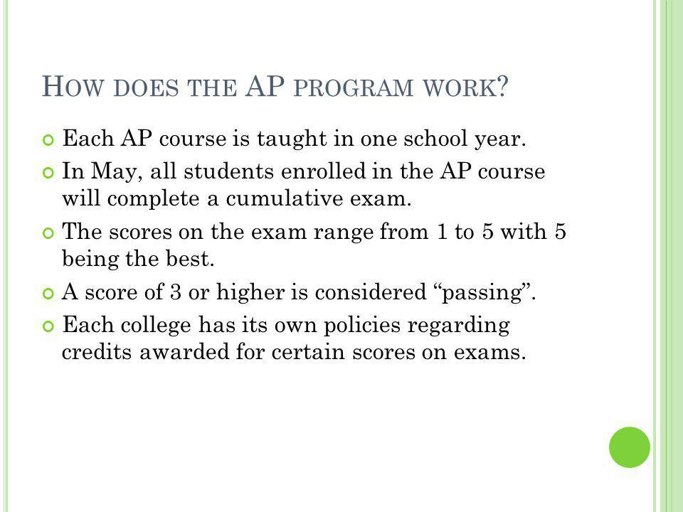 H OW DOES THE AP PROGRAM WORK . Each AP course is taught in one school year.