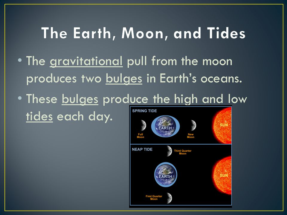 The gravitational pull from the moon produces two bulges in Earth's oceans. These bulges produce the high and low tides each day.