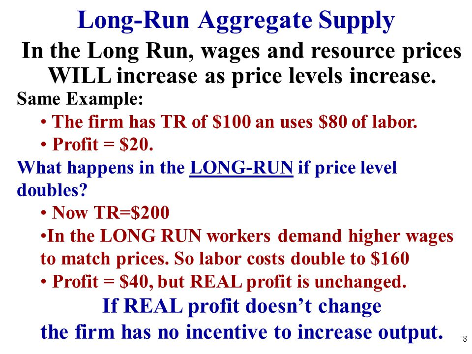 Long-Run Aggregate Supply In the Long Run, wages and resource prices WILL increase as price levels increase. Same Example: The firm has TR of $100 an