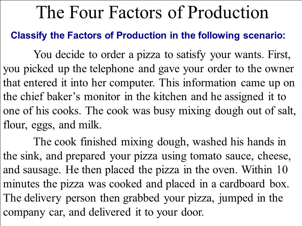 The Four Factors of Production You decide to order a pizza to satisfy your wants.