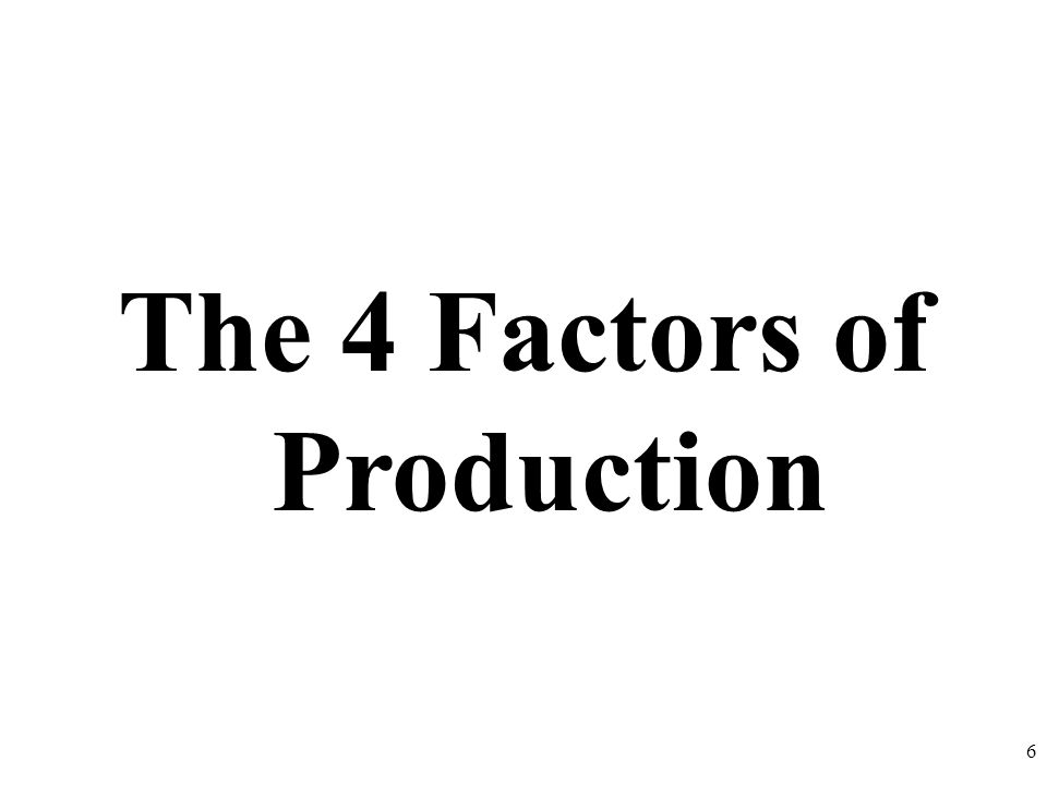 The 4 Factors of Production 6