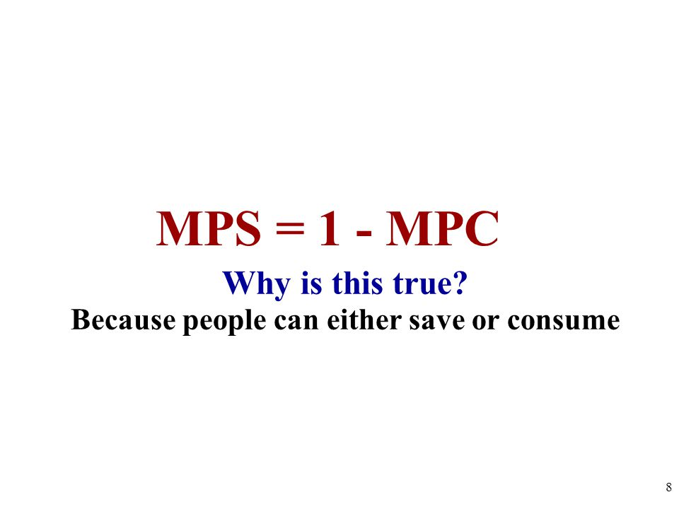 Why is this true? Because people can either save or consume 8 MPS = 1 - MPC