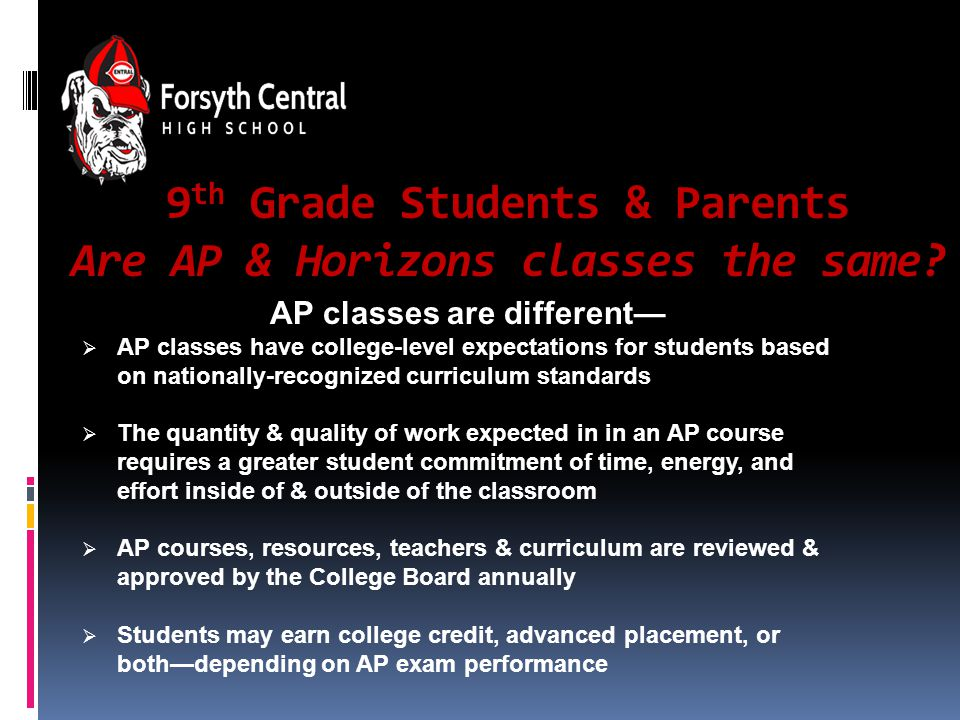 9 th Grade Students & Parents Are AP & Horizons classes the same.