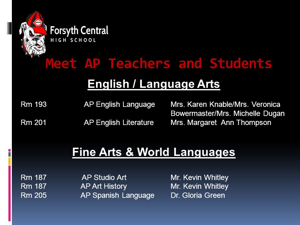 Meet AP Teachers and Students English / Language Arts Rm 193 AP English Language Mrs.