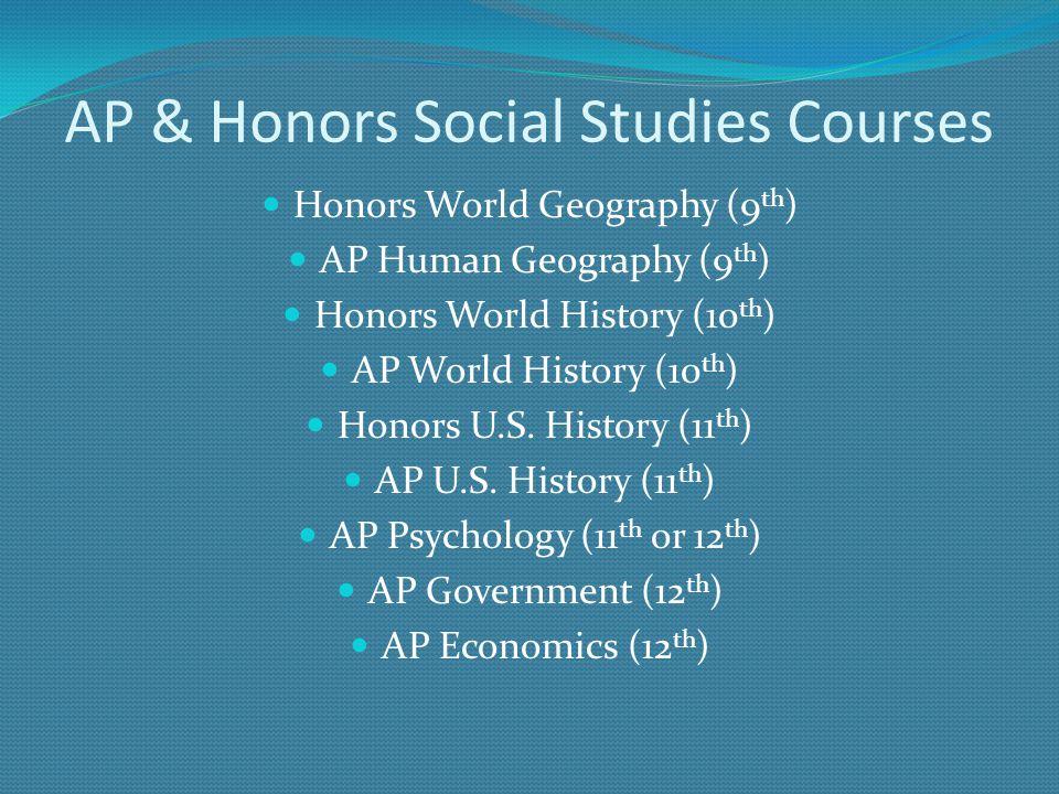 AP & Honors Social Studies Courses Honors World Geography (9 th ) AP Human Geography (9 th ) Honors World History (10 th ) AP World History (10 th ) H
