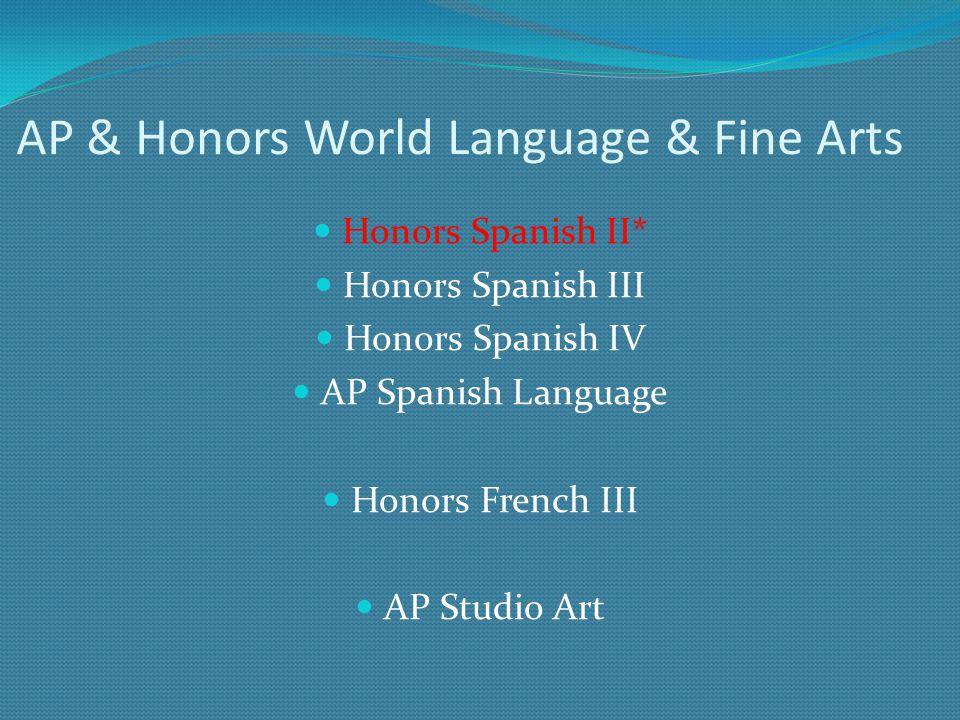 AP & Honors World Language & Fine Arts Honors Spanish II* Honors Spanish III Honors Spanish IV AP Spanish Language Honors French III AP Studio Art