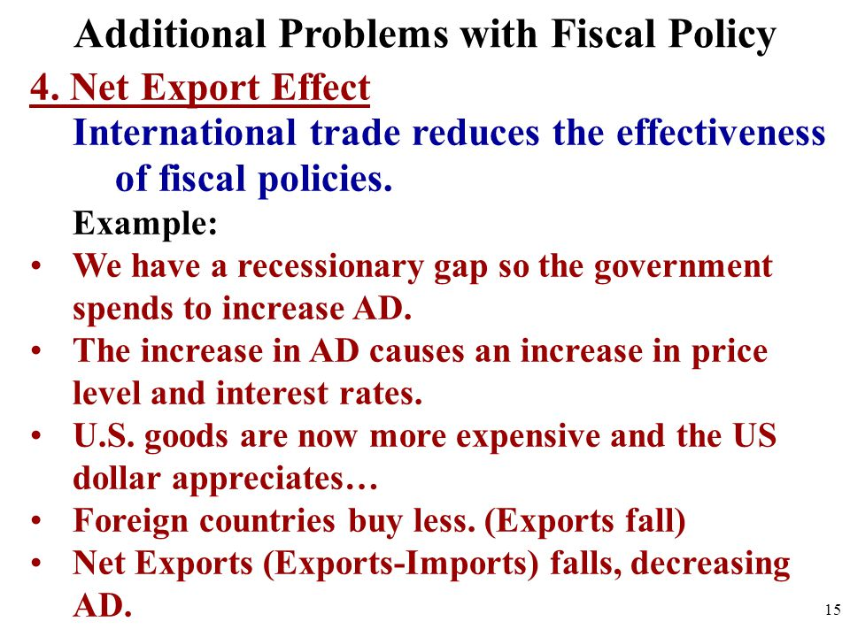 4. Net Export Effect International trade reduces the effectiveness of fiscal policies. Example: We have a recessionary gap so the government spends to