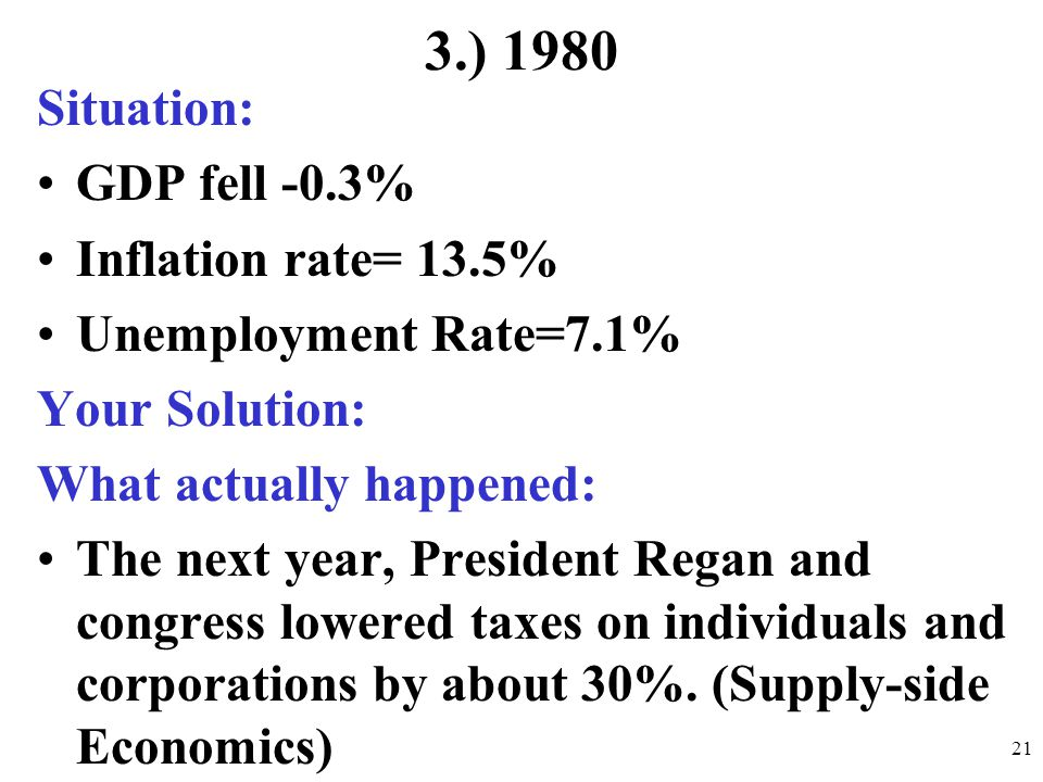 3.) 1980 Situation: GDP fell -0.3% Inflation rate= 13.5% Unemployment Rate=7.1% Your Solution: What actually happened: The next year, President Regan