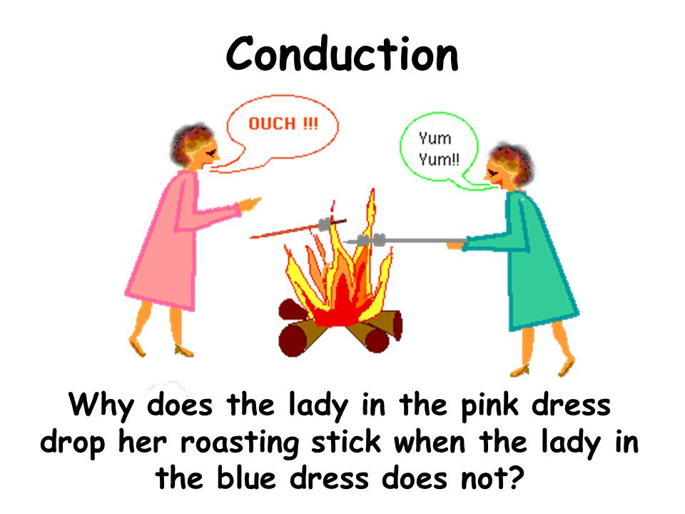 Conduction Why does the lady in the pink dress drop her roasting stick when the lady in the blue dress does not?